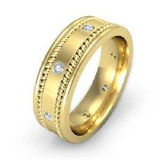 Rope Edges Bezel Diamond Eternity Men's Wedding Band 14k Gold Yellow  (0.2Ct. tw.)