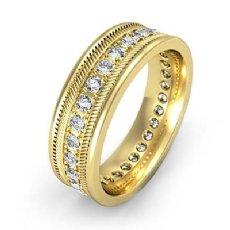 Pave Set Round Edge Diamond Eternity Men's Wedding Band 14k Gold Yellow  (0.65Ct. tw.)
