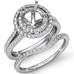 2.2Ct Diamond Halo Pave Setting Engagement Ring Round Bridal Set 14k White Gold - javda.com