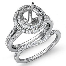 2.2Ct Diamond Halo Pave Setting Engagement Ring Round Bridal Set 14K White Gold