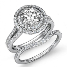 Gala Halo Bridal Set Round diamond engagement Ring in 14k Gold White