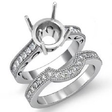 0.60Ct Diamond Engagement Millgrain Setting Ring Round Bridal Set 14K White Gold