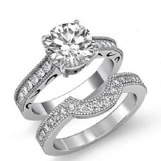 Vintage Milgrain Wedding Set Round diamond engagement Ring in 14k Gold White