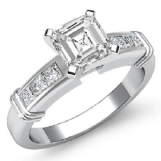 Channel Set Shank 4 Prong Asscher diamond engagement Ring in 14k Gold White
