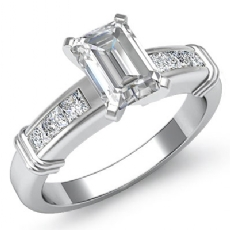 Princess Cut Channel Set Emerald diamond engagement Ring in 14k Gold White