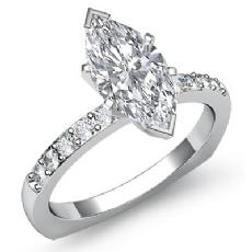 Euro Shank Classic Sidestone Marquise diamond engagement Ring in 14k Gold White