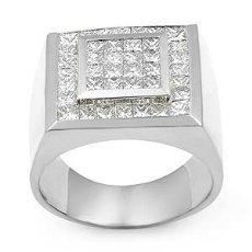 2 1/2 CT Princess Men Diamond Ring Men's Band White Gold
