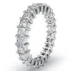 Prong Set Princess Diamond Ring Womens Eternity Wedding Band 14k White Gold 3Ct