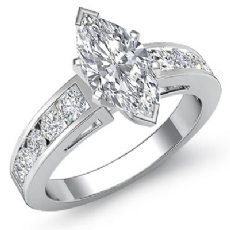 Cathedral Graduate Chanel Style Marquise diamond Engagement Ring in 14k Gold White