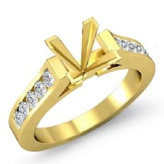 Princess Diamond Engagement Ring Channel Setting 18k Gold Yellow Semi Mount (0.3Ct. tw.)