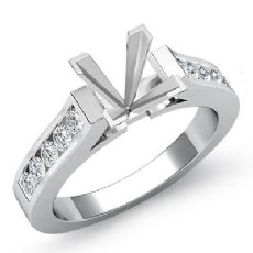 0.30Ct Princess Diamond Engagement Ring Channel Setting 14k White Gold Semi Mount