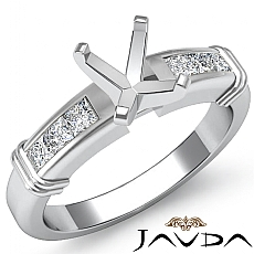 0.40 Ct Diamond Engagement Womens Ring Cushion Semi Mount Setting 14k White Gold