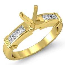 Diamond Engagement Womens Ring Cushion Semi Mount Setting 14k Gold Yellow (0.4Ct. tw.)