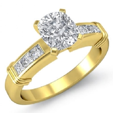 4 Prong Channel Setting Cushion diamond engagement Ring in 14k Gold Yellow