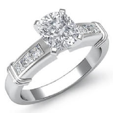 4 Prong Channel Setting Cushion diamond engagement Ring in 14k Gold White