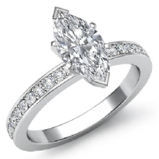 Classic Pave Set Sidestone Marquise diamond engagement Ring in 14k Gold White