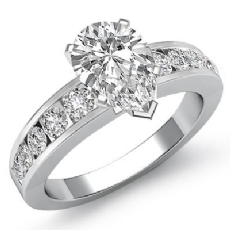 Channel Set Classic Sidestone Pear diamond engagement Ring in 14k Gold White