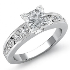Channel Set Classic Sidestone Princess diamond engagement Ring in 14k Gold White