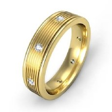 Parallel Grooves Diamond Eternity Men's Wedding Band 18k Gold Yellow  (0.16Ct. tw.)