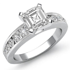 Semi Bezel Set 4 Prong Asscher diamond engagement Ring in 14k Gold White
