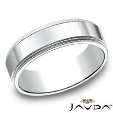6mm Unisex Plain Wedding Band Double Migraine Edges in 14k White Gold