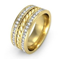 Rope Design Channel Men's Diamond Eternity Wedding Band 14k Gold Yellow  (1.75Ct. tw.)