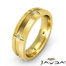 Bezel Diamond Brushed Beveled Edge Men's Wedding Band 14k Gold Yellow  (0.15Ct. tw.)
