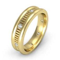 Vertical Cut Round Edge Diamond Eternity Men's Wedding Band 14k Gold Yellow  (0.16Ct. tw.)