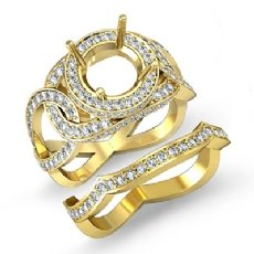 Halo Pave Diamond Engagement Ring Round Bridal Set 14k Gold Yellow Setting (1.7Ct. tw.)