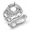 1.7Ct Halo Pave Diamond Engagement Ring Round Bridal Set 14k White Gold Setting - javda.com