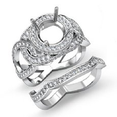 1.7Ct Halo Pave Diamond Engagement Ring Round Bridal Set 14K White Gold Setting