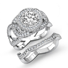 Twisted Halo Bridal Set Round diamond engagement Ring in 14k Gold White