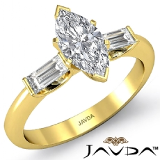 Classic 3 Stone Bar Baguette Marquise diamond engagement Ring in 14k Gold Yellow