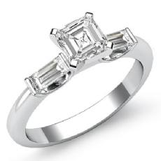 Classic 3 Stone Bar Baguette Asscher diamond engagement Ring in 14k Gold White
