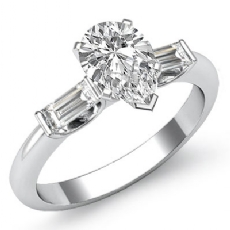 Classic 3 Stone Bar Baguette Pear diamond engagement Ring in 14k Gold White