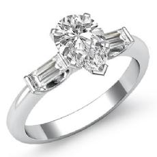 Classic 3 Stone Bar Baguette diamond Ring 14k Gold White
