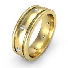 Dome Bezel Set Men's Diamond Eternity Wedding Band 14k Gold Yellow  (0.16Ct. tw.)