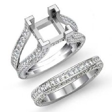 2.3 Ct Diamond Engagement Ring Princess Bridal Sets 14K White Gold Split Shank