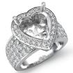 2Ct Halo Pave Setting Diamond Engagement Ring Heart Semi Mount 14k White Gold - javda.com