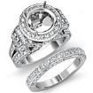 3.7Ct Diamond Engagement Ring Round Halo Pave Setting Bridal Set 14k White Gold - javda.com