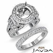 3.7Ct Diamond Engagement Ring Round Halo Pave Setting Bridal Set 14k White Gold