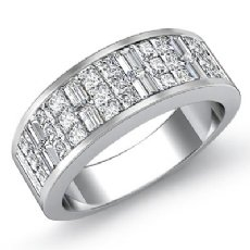 Princess Baguette Invisible Set Diamond Women Wedding Band 14k WGold Ring 1.5Ct