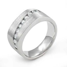 Channel Set Diamond Men's Half Square Wedding Band in 14k White Gold 0.60 Ct