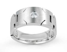 Handmade Solitaire Round Diamond Men's Half Wedding Band 14k White Gold 0.15 Ct
