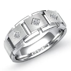 Block Link Matte Princess Diamond Half Men's Wedding Band 14k White Gold 0.30 Ct