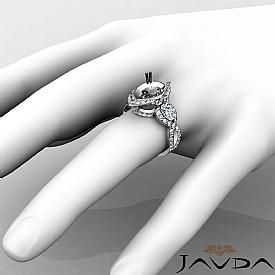Pear Diamond Three 3 Stone Anniversary Setting Ring 14k W Gold Semi Mount 1.4Ct