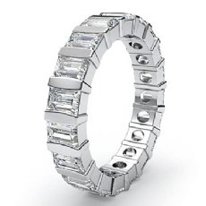Women's Wedding Eternity Band Baguette Bar Set Diamond Ring 14k White Gold 2Ct