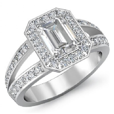 Filigree Sidestone Halo Pave Emerald diamond engagement Ring in 14k Gold White