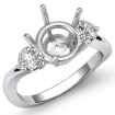 Round Diamond Three 3 Stone Engagement Semi Mount Ring Setting 14k White Gold 0.5Ct - javda.com