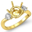 Round Diamond Three 3 Stone Engagement Semi Mount Ring Setting 18k Yellow Gold 0.5Ct - javda.com
